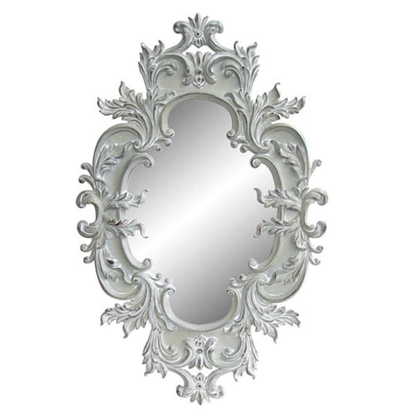 Antique white traditional oval 60 inch wall mirror for 60 inch framed mirror