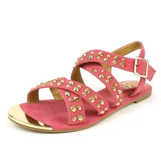 Fahrenheit Women's 'FAMKE-02' Coral Strappy Studded Flat Sandals