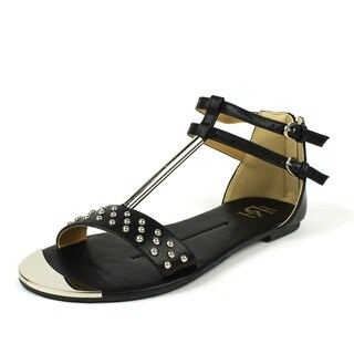 Fahrenheit Women's 'FAMKE-03' Black Metallic T-strap Studded Flat Sandals