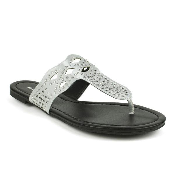 Mark & Maddux Women's 'TYSON-02' Silver Rhinestones Flat Sandals