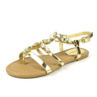 Mark & Maddux Women's 'WALTER-02' Gold Rhinestones Flat Sandals