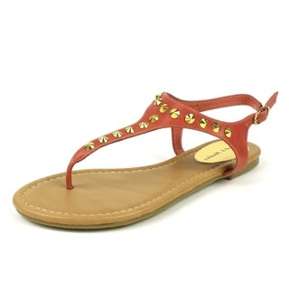 Mark & Maddux Women's 'WALTER-01' Salmon Pointed Stud T-strap Flat Sandals