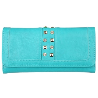 Journee Collection Women's Stud Detail Checkbook Fold-over Wallet