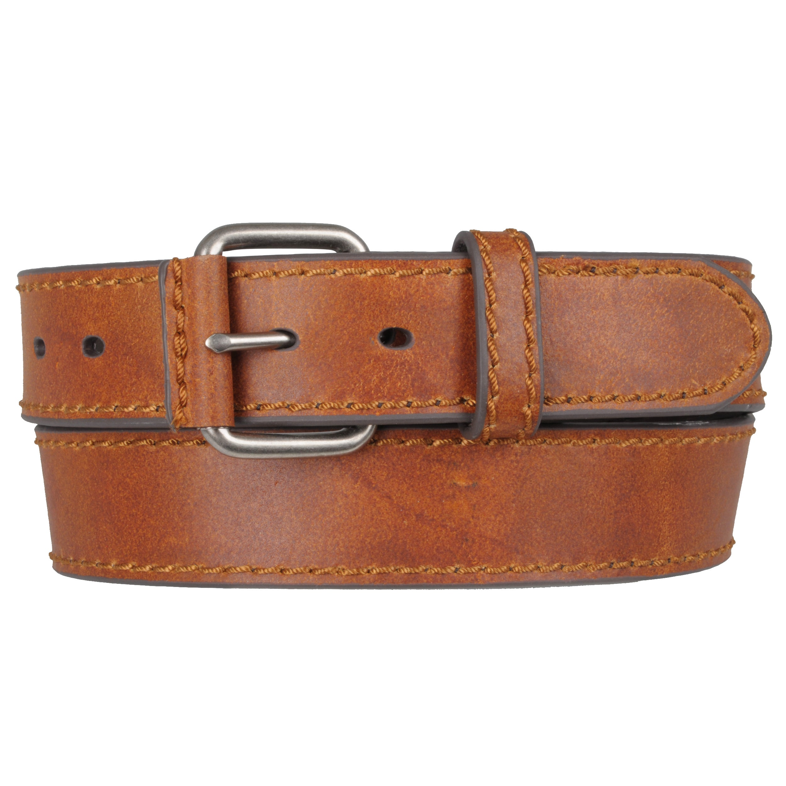 Boston Traveler Men's Topstitched Black/Tan Leather Belt