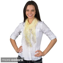 Hailey Jeans Co Women's Floral Pattern Lace Detail Scarf