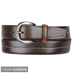 Boston Traveler Men's Topstitched Black/Brown Leather Belt