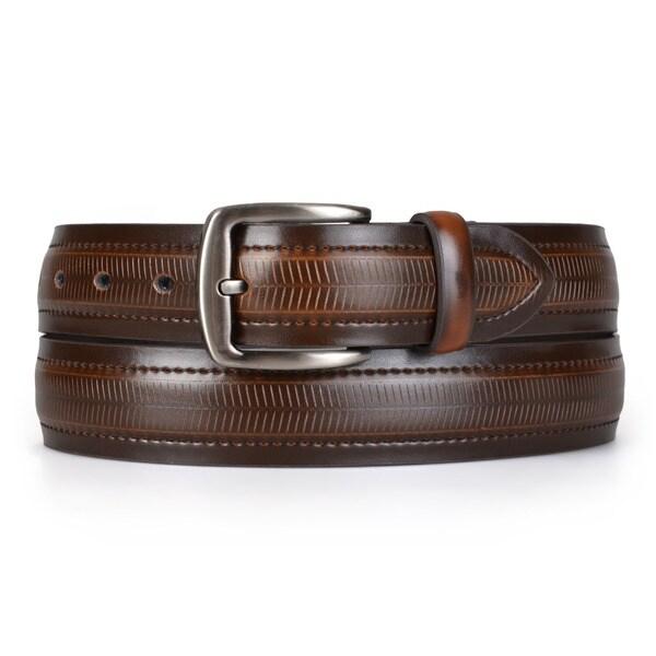 Boston Traveler Men's Topstitched Genuine Leather Belt