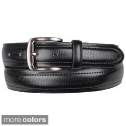 Boston Traveler Men's Topstitched Genuine Leather Belt