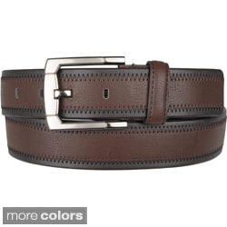 Boston Traveler Men's Topstitched Leather Belt with Single-Prone Buckle