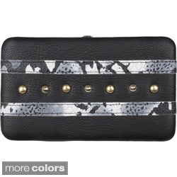 Journee Collection Faux-Leather Stud Checkbook Clutch Wallet
