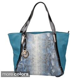 Journee Collection Women's Snake Skin Print Double Handle Tote Bag