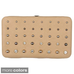 Journee Collection Women's Stud Detail Checkbook Clutch Wallet