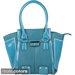 Journee Collection Women's Topstiched Double Handle Tote