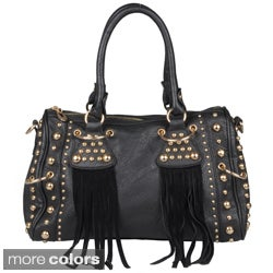 Journee Collection Women's Stud Detail Fringed Satchel