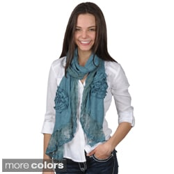 Hailey Jeans Co. Women's Rosette Detail Lace Trim Scarf