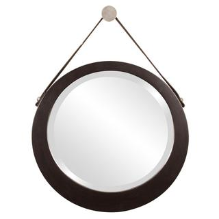 Bloomington Espresso Brown Round Mirror