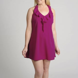 Swim 365 Women's Plus 1-piece Halter Swim Dress