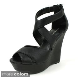 Mark & Maddux Women's 'SHIA-02' Cross-strap Wedges