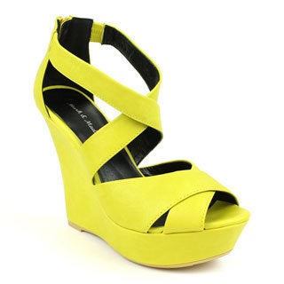 Mark & Maddux Women's 'SHIA-02' Yellow Cross-strap Open-toe Wedges