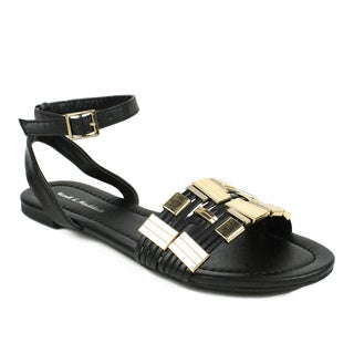 Mark & Maddux Women's 'TYSON-01' Black Metallic Accent Flat Sandals