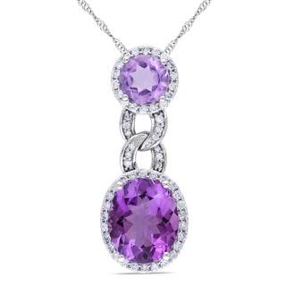 Miadora Signature Collection 10k White Gold Amethyst 1/2ct TDW Diamond Necklace (SI1-SI2)