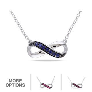 M by Miadora Sterling Silver Ruby or Sapphire Infinity Necklace