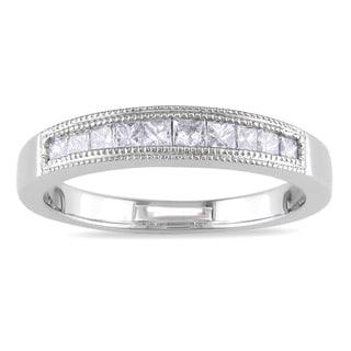 Miadora 18k White Gold 1/2ct TDW Diamond Wedding Band (G-H, SI1-SI2)
