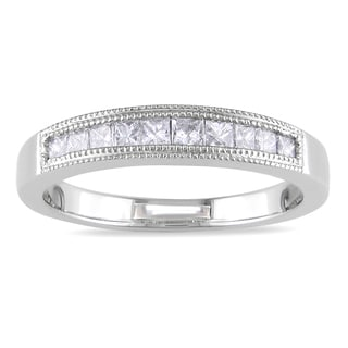 Miadora 18k White Gold 1/2ct TDW Diamond Wedding Band (G-H, SI1-SI2)