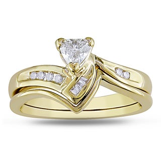 Miadora 14k Yellow Gold 1/3ct TDW Bridal Ring Set (G-H, SI1-SI2)