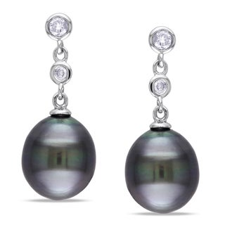 Miadora 14k White Gold Tahitian Pearl 1/5ct Diamond Earrings (G-H, I1-I2)