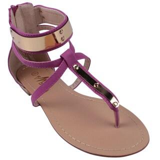 Machi by Beston Women's 'JACEY-3' Metal Plate T-Strap Gladiator Thong Sandals