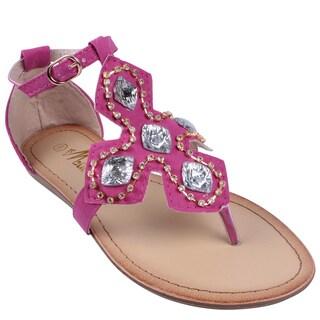 Machi by Beston Women's 'ELLIE-3' T-Strap Gladiator Thong Sandals