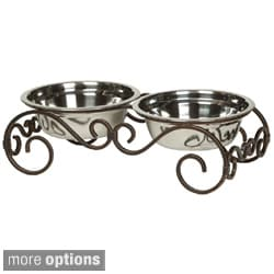 Unleashed Life Carlisle Steel Double Pet Feeder