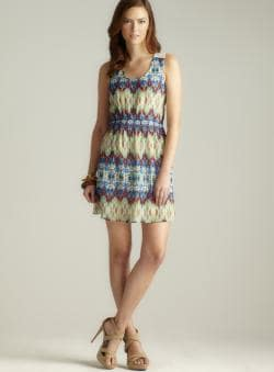 Ocean Drive Chiffon Printed Mesh Back Dress