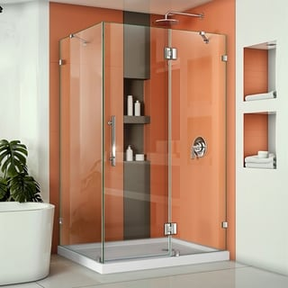DreamLine QuatraLux 34-5/16 x46-5/16 Frameless Hinged Shower Enclosure