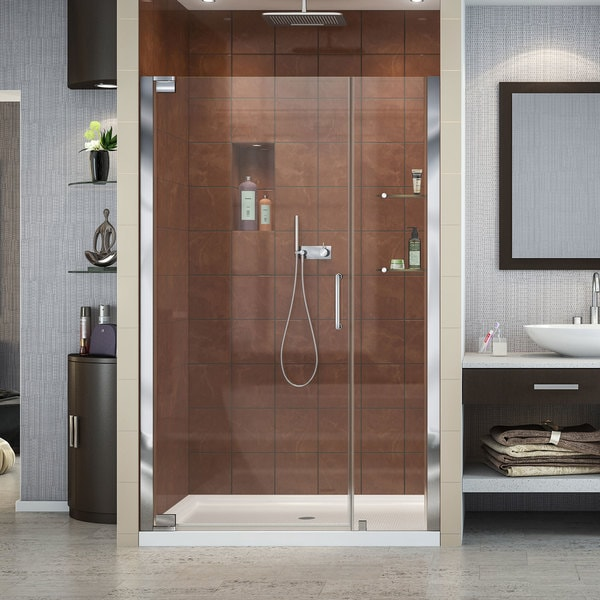 DreamLine Elegance 42 1/2 to 44 1/2 in. Frameless Pivot Shower Door 11151537