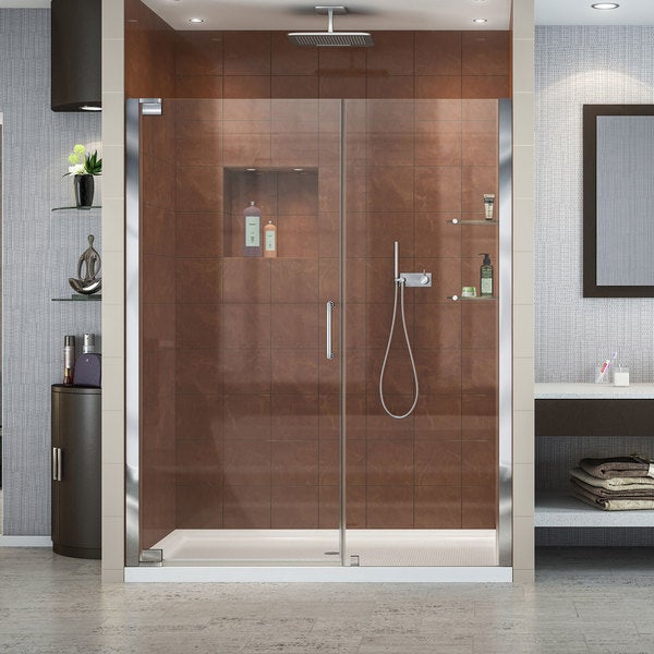 DreamLine Elegance 51 to 53 in. Frameless Pivot Shower Door 27255385