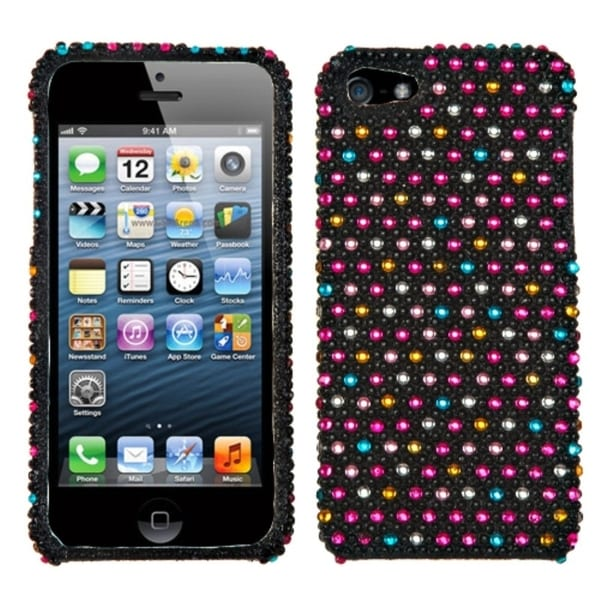 INSTEN Sprinkle Dots Diamante Protector Phone Case Cover for Apple iPhone 5