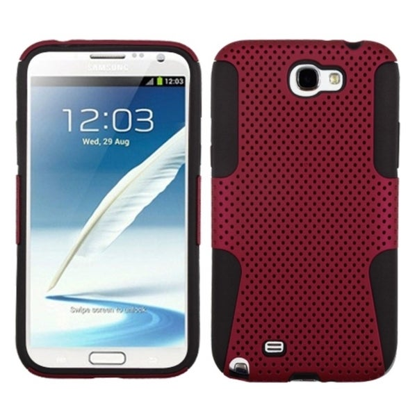 INSTEN Red/ Black Hybrid Phone Case Cover for Samsung Galaxy Note 2/ II T889/ I605