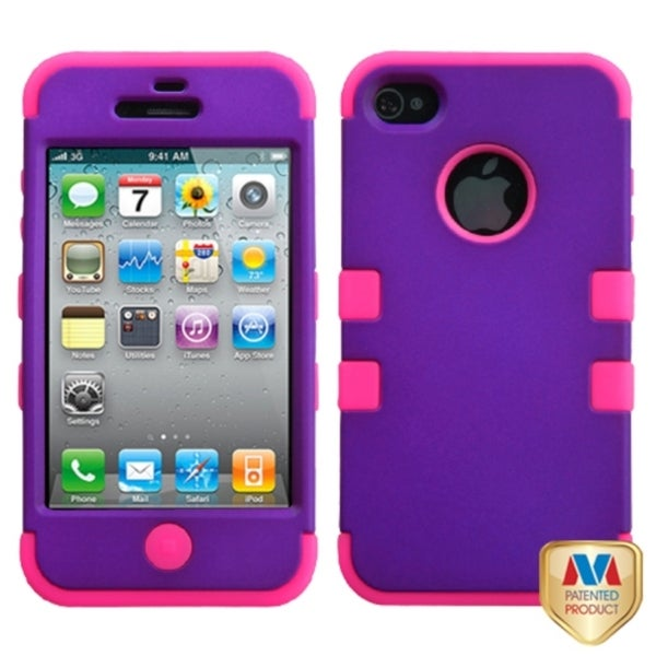 INSTEN Rubber Grape/ Pink TUFF Hybrid Phone Case Cover for Apple iPhone 4/ 4S