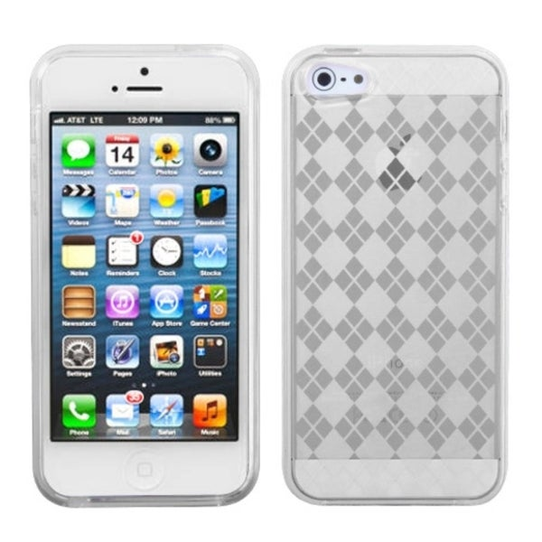 INSTEN Clear Argyle Candy Skin Phone Case Cover Protector Phone Case Cover for Apple iPhone 5