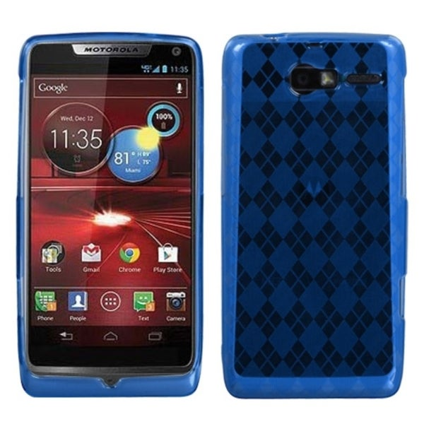 INSTEN Dark Blue Argyle Phone Case Cover for Motorola XT907 Droid Razr M