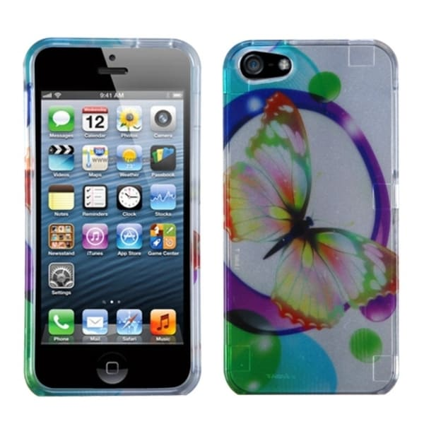 INSTEN 2D Silver Colorful Butterfly Protector Phone Case Cover for Apple iPhone 5