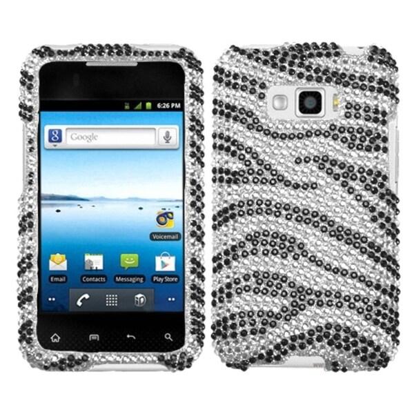 INSTEN Black Zebra Skin Diamond Phone Case Cover for LG LS696 Optimus Elite