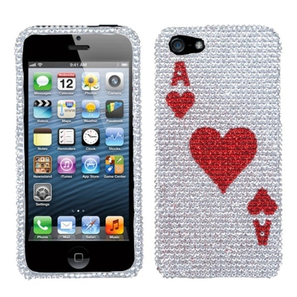 BasAcc Ace of Hearts Card Bling Diamante Case for Apple iPhone 5