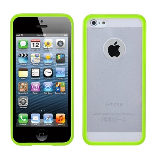 INSTEN Green/ Clear Gummy Soft Trim Hard Plastic Phone Case Cover for Apple iPhone 5