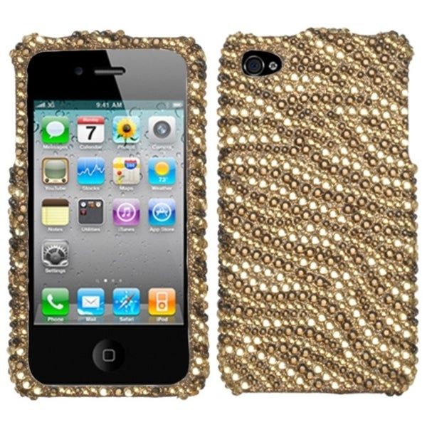 BasAcc Tiger Skin Camel/ Brown Diamante Case for Apple iPhone 4S/ 4