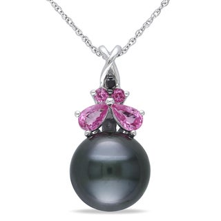 Miadora 10k White Gold Pearl Pink Sapphire and Black Diamond Necklace