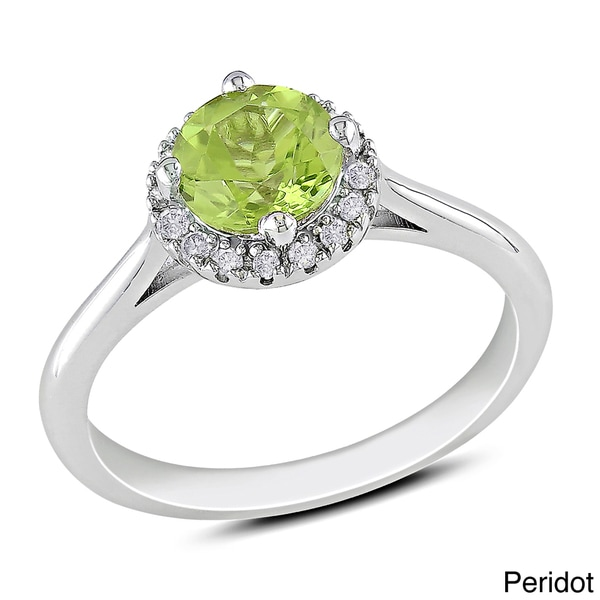 M by Miadora Sterling Silver Gemstone and 1/10ct Diamond Ring (H-I, I2-I3)
