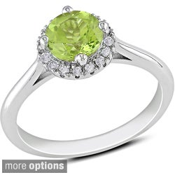 Miadora Sterling Silver Gemstone and 1/10ct Diamond Ring (H-I, I2-I3)